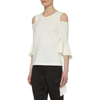 Mo & Co. Yellow Cold Shoulder Top