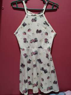White Strawberry Designed Dress