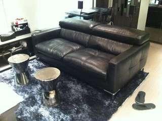 黑色義大利真牛皮沙發 Black Italian Calf Leather Sofa