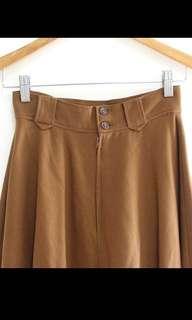 🚚 古董大裙擺褐色排扣氣質素面圓舞曲長裙圓裙裙子vintage古著