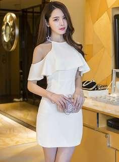 Short-Sleeve: White Korean Off Shoulder Flouncing Halter Skinny Dress (S / M / L) - OA/FLD050115