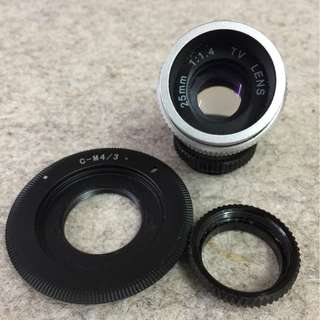 CCTV Lens 25mm f1.4 C-mount with lens adapter for Micro 4/3 . ( m43 )