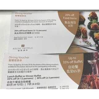 富豪酒店餐饗優惠券 [2張] | Regal Hotels Dinning Voucher [for 2]