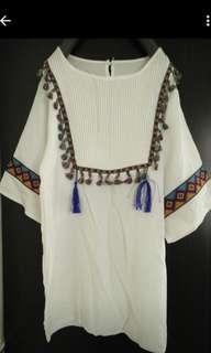 🚚 波希米亞 民俗風上衣 刺繡款 流蘇 微瑕 #女裝半價拉