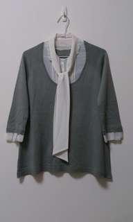 日製灰色假兩件針織上衣