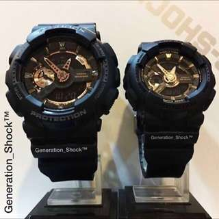 COUPLE💝 PAIR SET in CASIO BABYG GSHOCK : 1-YEAR OFFICIAL WARRANTY in 100% ORIGINAL BABY-G-SHOCK RESISTANT in DEEP BLACK Rose-Gold STEALTH MATT Best Gift For Most Rough Users: GA-110RG-1ADR & BA-110GA-1ADR / GA-110 / BA-110