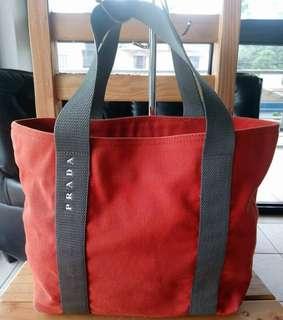 Authentic Prada Medium Canvas Open Tote Bag