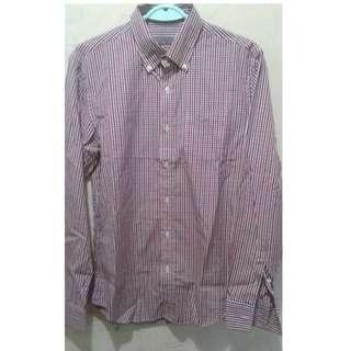 Shirt long sleeve red gingham Giordano