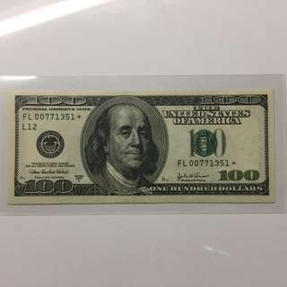 USA Franklin $100 2003-A Replacement Star banknote