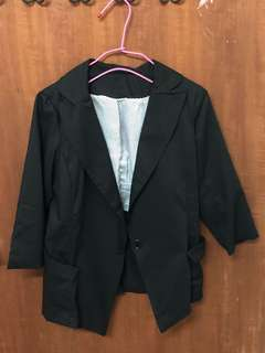 🚚 合身七分袖黑色西裝外套