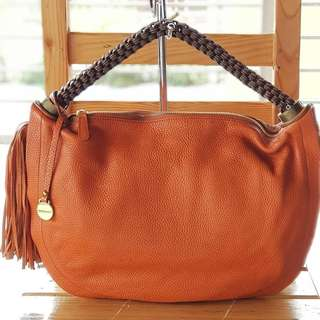 Authentic Rabeanco Orange Tasseled Hobo