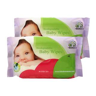 FABULOUS MOM BIODEGRADABLE BABY WIPES 30S TWIN PACK
