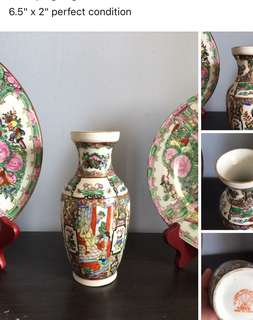 Hand painted vase Canton ware