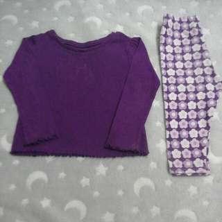 garanimals top shirt & legging pants baby girl 18-24 months