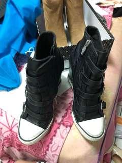 🚚 二手!9成新~ASH United black 高筒帆布鞋38號