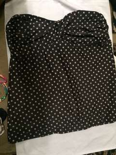 Brown Polkadot Tankini tube (Plus)