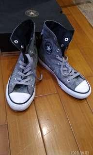 🚚 正品CONVERSE ALL STAR長筒(WOMEN 6.5,JP23.5cm)灰色黑幾何圖案,8成新,少穿內外乾淨-(附原鞋盒)。