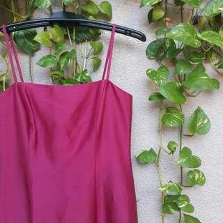 Ann Taylor Magenta silk midi dress