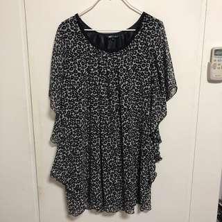 NET 黑色雪紡豹紋洋裝