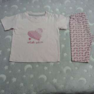 college kids top shirt & carter's legging pants baby girl 12 months