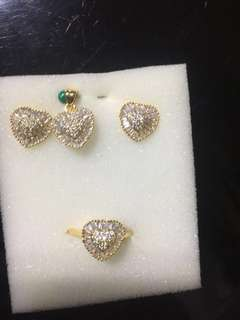 18K Gold Plated Diamond Zirconia Set