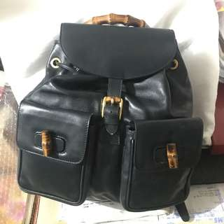 Gucci Bamboo Leather Backpack Vintage款 竹柄背包 文青背包 大size Navy深藍色