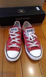 🚚 正品CONVERSE ALL STAR(MEN4,WOMEN6,23cm)經典紅色,8成新,少穿內外乾淨-膠邊完整(附鞋盒)。