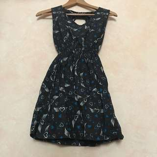 Blue Heart Printed Dress