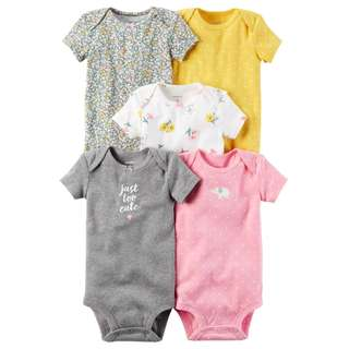 BN 6m/9m Carters  5-Pack Short-Sleeve Bodysuits Just TOO Cute