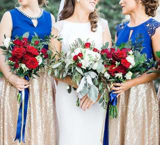 Bridal Bouquet in Red and White / Red roses with rustic leaves wedding flowers