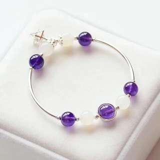天然紫水晶+天然月光石手鏈 配施華洛水晶菱形吊墜