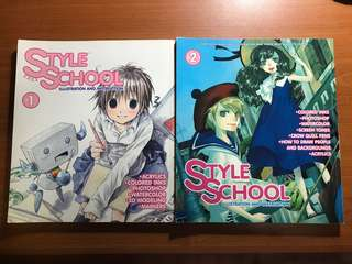 Style school illustration and instruction manga and drawing