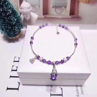 「腳鏈」 天然紫水晶腳鏈 配純銀招財貔貅蓮蓬小花吊飾
