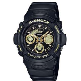 only hk$519, 100% new CASIO G-SHOCK BLACK & GOLD AW-591GBX-1A9JF MENS JAPAN IMPORT手錶