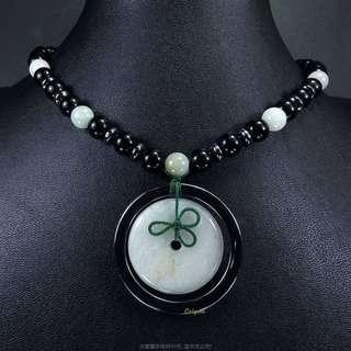 🚚 珍珠林~特價結緣品~僅此一件~A貨緬甸翡翠玉壁型避邪平安扣.羅漢眼項鍊#283