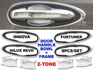 FORTUNER/INNOVA/HILUX REVO DOOR HANDLE BOWL + FRAME 2016-2018 (2-TONE 8 PCS./SET)