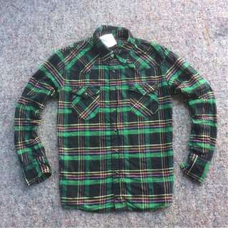 EDWIN FLANNEL SHIRT GREEN BLACK