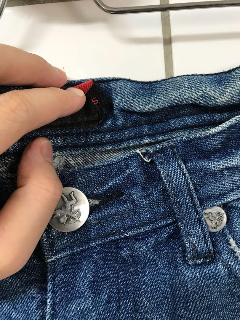 韓版 刷色合身牛仔短裙S