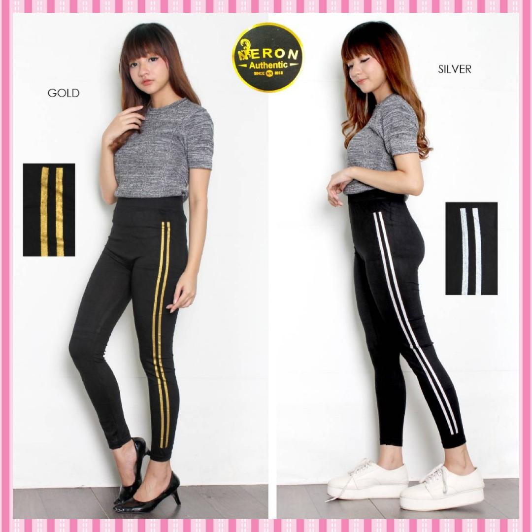 Celana Legging Import Stripe Garis 2 Leging Import Olshop Fashion Olshop Wanita Di Carousell