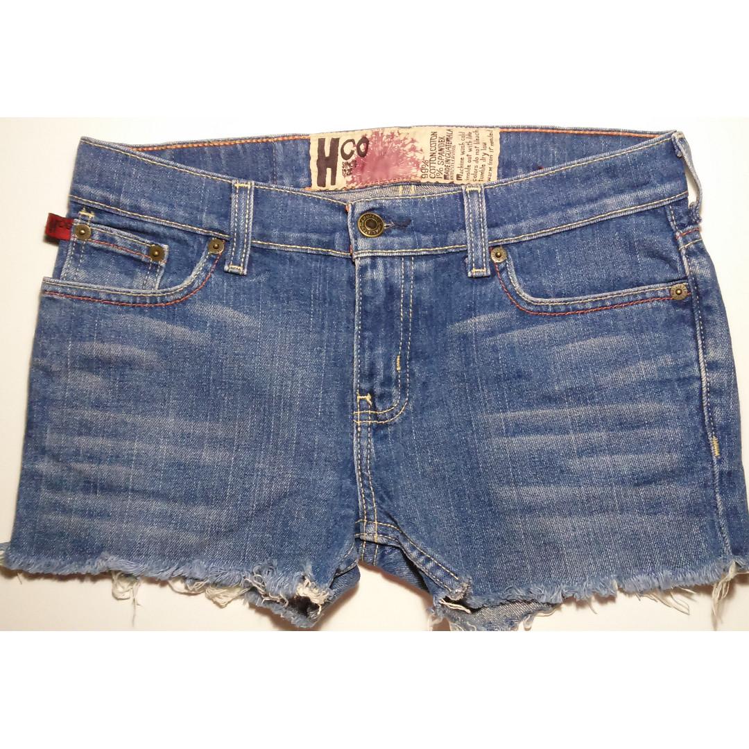 e89d94fa5c2 Dark blue Hollister HCo frayed denim shorts