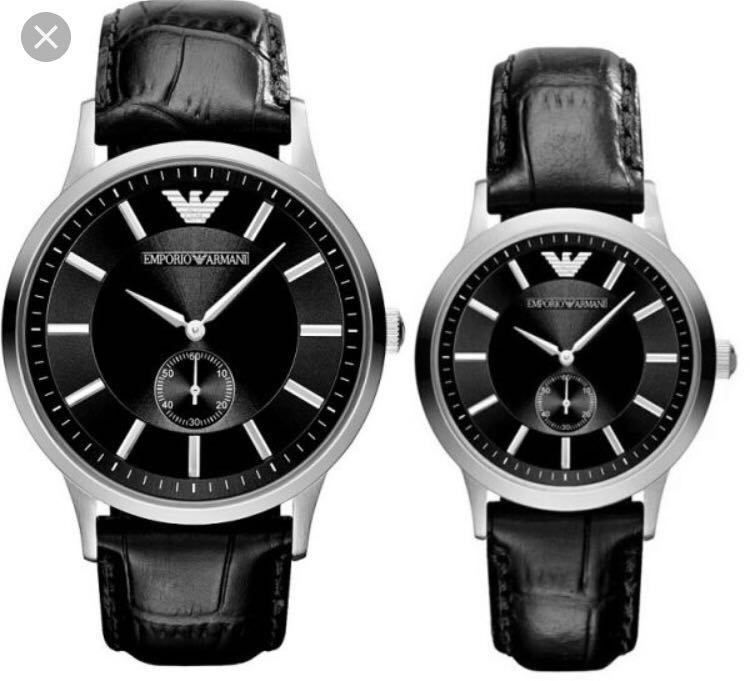 fa465af4850b5 Emporio Armani Couple Watch AR-9100, Luxury, Watches on Carousell