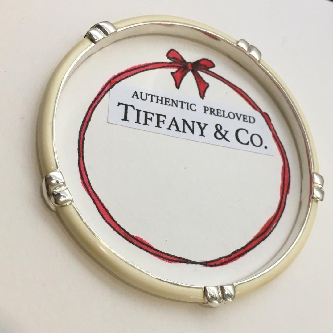 d6d94e5b7e428 Excellent Authentic Tiffany & Co Signature Ivory White Enamel Bangle ...