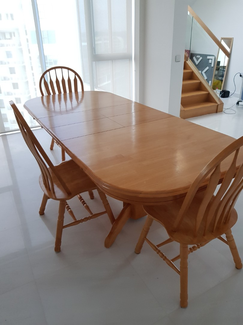 Moving Expandable Dining Table 2 Hidden Leaves