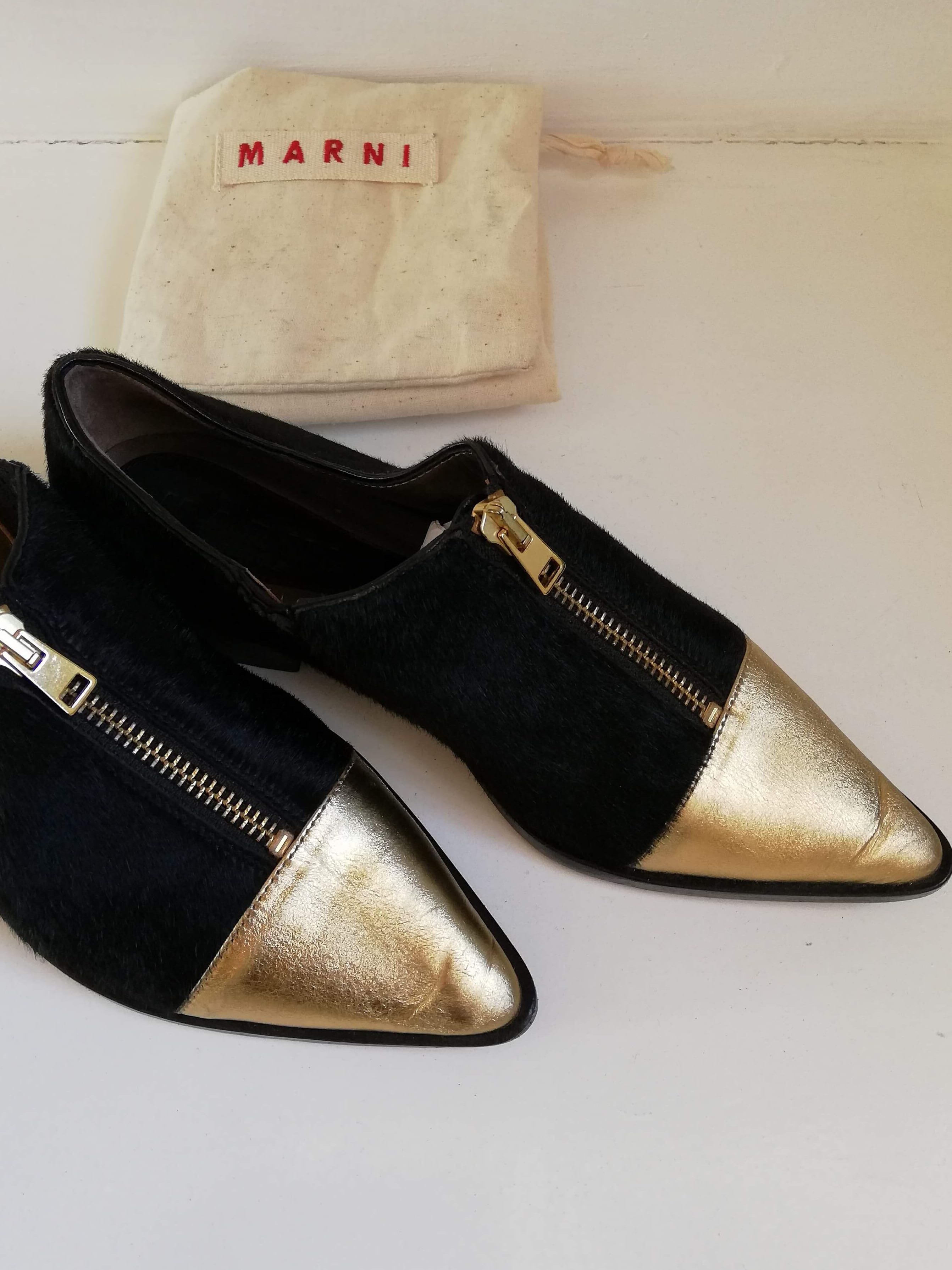 9877ef87eed MARNI Pony Hair Pointed Cap Toe Women s Loafers
