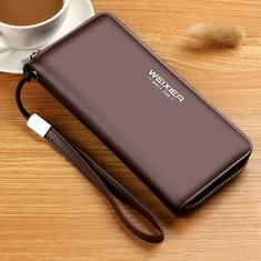 Men PU Single Zipper Business Wallet 5.5 Inches Phone Bag