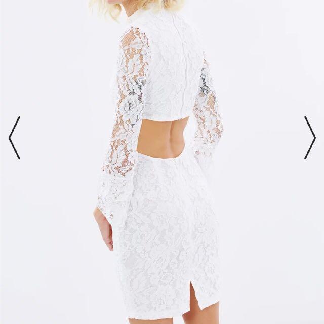 mosman white lace dress size8