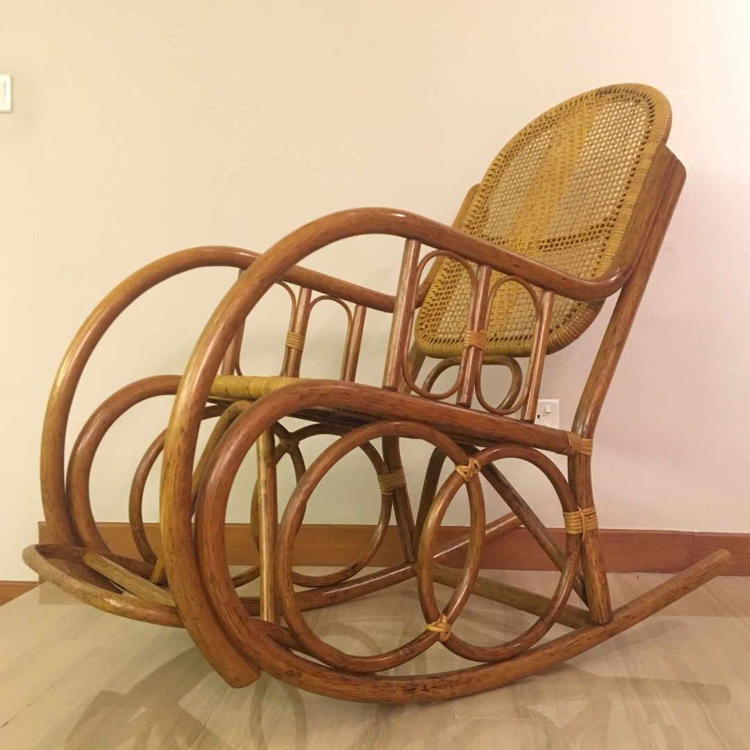 Peachy Natural Rattan Rocking Chair Almost New Spiritservingveterans Wood Chair Design Ideas Spiritservingveteransorg
