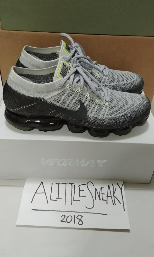ad1d3af8af2fd Nike Air Vapormax Flyknit Grey Neon 922915-002 UK 10 US 11
