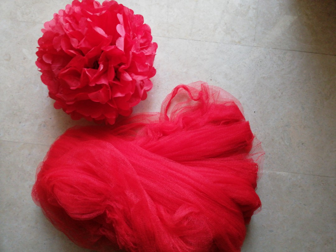 Red Paper Flowers And Mesh Design Craft Others On Carousell
