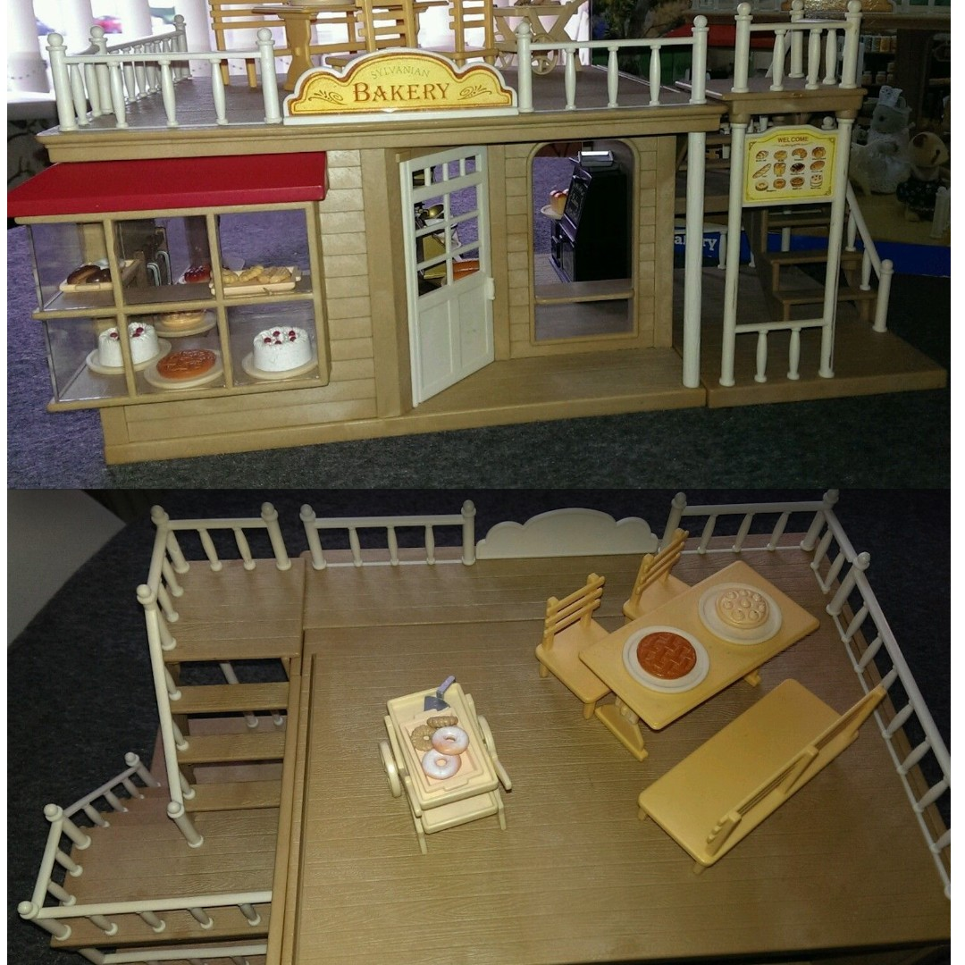 Sylvanian Families Bakery With Stairs And Porch And Accessories